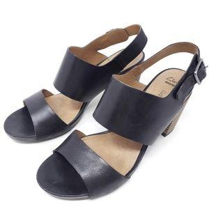 Clarks Slingback Sandals Open Toe Stacked Heel